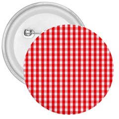 Large Christmas Red And White Gingham Check Plaid 3  Buttons by PodArtist