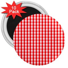 Large Christmas Red And White Gingham Check Plaid 3  Magnets (10 Pack)  by PodArtist