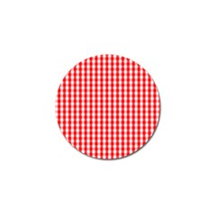 Large Christmas Red And White Gingham Check Plaid Golf Ball Marker (4 Pack) by PodArtist
