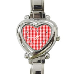 Large Christmas Red And White Gingham Check Plaid Heart Italian Charm Watch by PodArtist