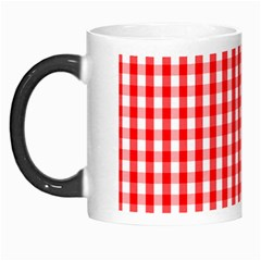 Large Christmas Red And White Gingham Check Plaid Morph Mugs by PodArtist