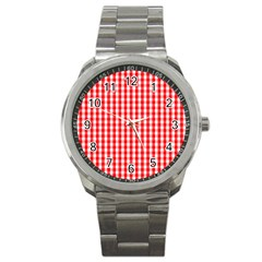 Large Christmas Red And White Gingham Check Plaid Sport Metal Watch by PodArtist