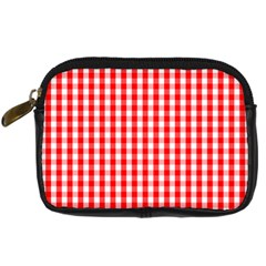 Large Christmas Red And White Gingham Check Plaid Digital Camera Cases by PodArtist