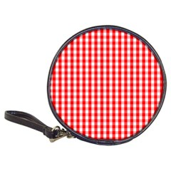 Large Christmas Red And White Gingham Check Plaid Classic 20 Cd Wallets by PodArtist