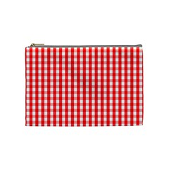 Large Christmas Red And White Gingham Check Plaid Cosmetic Bag (medium)  by PodArtist