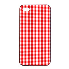 Large Christmas Red And White Gingham Check Plaid Apple Iphone 4/4s Seamless Case (black) by PodArtist