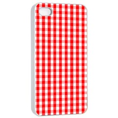 Large Christmas Red And White Gingham Check Plaid Apple Iphone 4/4s Seamless Case (white) by PodArtist