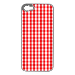 Large Christmas Red And White Gingham Check Plaid Apple Iphone 5 Case (silver) by PodArtist