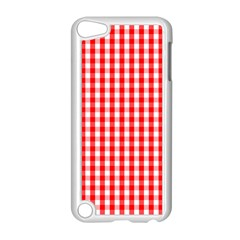 Large Christmas Red And White Gingham Check Plaid Apple Ipod Touch 5 Case (white) by PodArtist