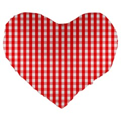 Large Christmas Red And White Gingham Check Plaid Large 19  Premium Heart Shape Cushions by PodArtist