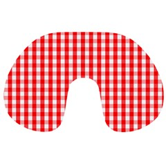 Large Christmas Red And White Gingham Check Plaid Travel Neck Pillows by PodArtist