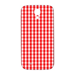 Large Christmas Red And White Gingham Check Plaid Samsung Galaxy S4 I9500/i9505  Hardshell Back Case by PodArtist