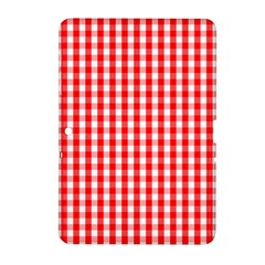 Large Christmas Red And White Gingham Check Plaid Samsung Galaxy Tab 2 (10 1 ) P5100 Hardshell Case  by PodArtist