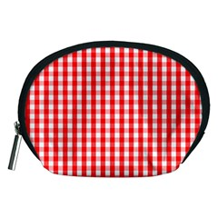 Large Christmas Red And White Gingham Check Plaid Accessory Pouches (medium)  by PodArtist