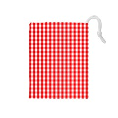 Large Christmas Red And White Gingham Check Plaid Drawstring Pouches (medium)  by PodArtist