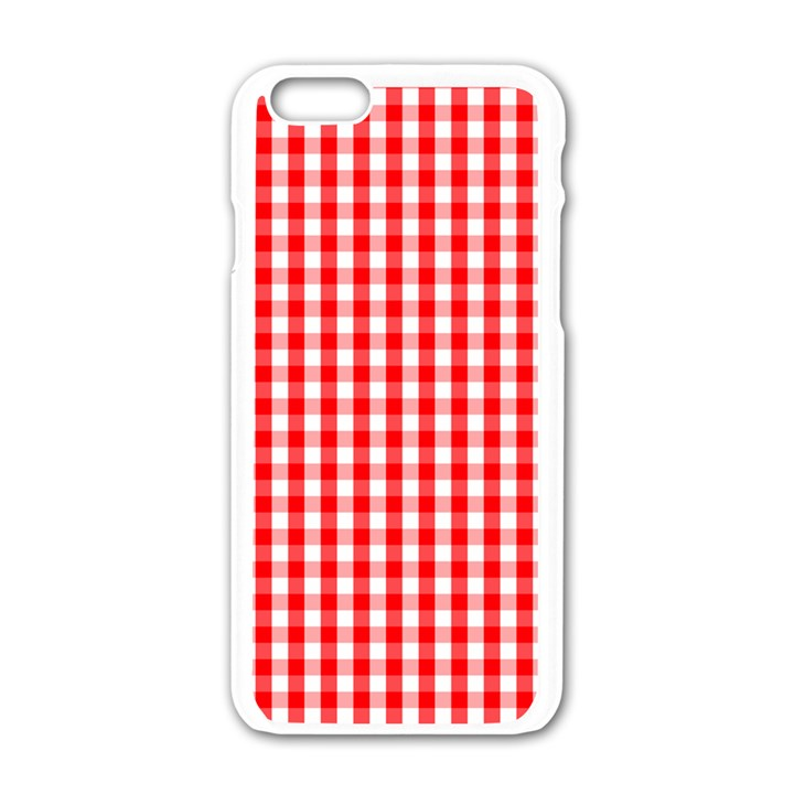 Large Christmas Red and White Gingham Check Plaid Apple iPhone 6/6S White Enamel Case