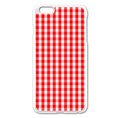Large Christmas Red And White Gingham Check Plaid Apple Iphone 6 Plus/6s Plus Enamel White Case by PodArtist