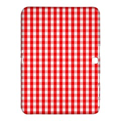 Large Christmas Red And White Gingham Check Plaid Samsung Galaxy Tab 4 (10 1 ) Hardshell Case  by PodArtist