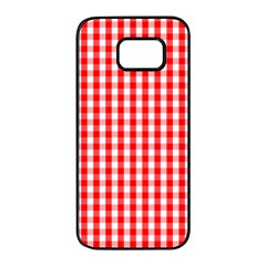 Large Christmas Red And White Gingham Check Plaid Samsung Galaxy S7 Edge Black Seamless Case by PodArtist