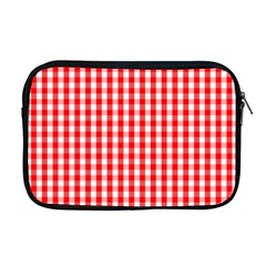 Large Christmas Red And White Gingham Check Plaid Apple Macbook Pro 17  Zipper Case by PodArtist