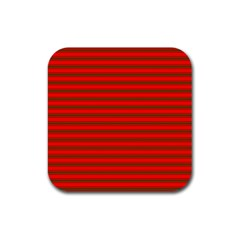 Christmas Red And Green Bedding Stripes Rubber Coaster (square)  by PodArtist