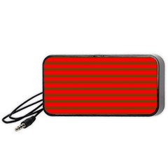Christmas Red And Green Bedding Stripes Portable Speaker by PodArtist