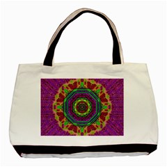 Mandala In Heavy Metal Lace And Forks Basic Tote Bag by pepitasart