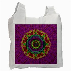 Mandala In Heavy Metal Lace And Forks Recycle Bag (two Side)  by pepitasart