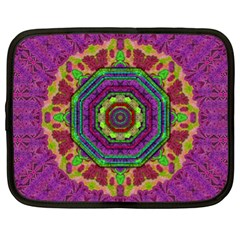 Mandala In Heavy Metal Lace And Forks Netbook Case (xl)  by pepitasart