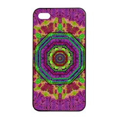 Mandala In Heavy Metal Lace And Forks Apple Iphone 4/4s Seamless Case (black) by pepitasart