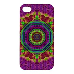 Mandala In Heavy Metal Lace And Forks Apple Iphone 4/4s Premium Hardshell Case by pepitasart