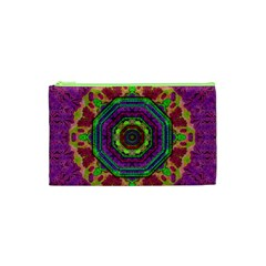 Mandala In Heavy Metal Lace And Forks Cosmetic Bag (xs) by pepitasart