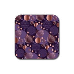 Random Polka Dots, Fun, Colorful, Pattern,xmas,happy,joy,modern,trendy,beautiful,pink,purple,metallic,glam, Rubber Square Coaster (4 Pack)  by 8fugoso