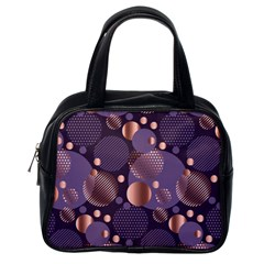 Random Polka Dots, Fun, Colorful, Pattern,xmas,happy,joy,modern,trendy,beautiful,pink,purple,metallic,glam, Classic Handbags (one Side) by 8fugoso