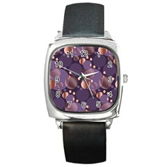 Random Polka Dots, Fun, Colorful, Pattern,xmas,happy,joy,modern,trendy,beautiful,pink,purple,metallic,glam, Square Metal Watch by 8fugoso