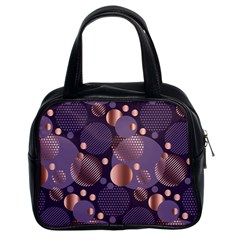 Random Polka Dots, Fun, Colorful, Pattern,xmas,happy,joy,modern,trendy,beautiful,pink,purple,metallic,glam, Classic Handbags (2 Sides) by 8fugoso