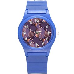 Random Polka Dots, Fun, Colorful, Pattern,xmas,happy,joy,modern,trendy,beautiful,pink,purple,metallic,glam, Round Plastic Sport Watch (s) by 8fugoso