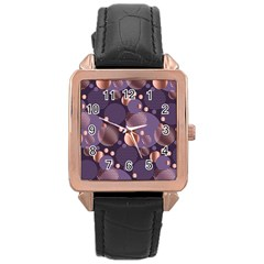 Random Polka Dots, Fun, Colorful, Pattern,xmas,happy,joy,modern,trendy,beautiful,pink,purple,metallic,glam, Rose Gold Leather Watch  by 8fugoso