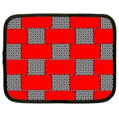 Black And White Red Patterns Netbook Case (large) by Celenk