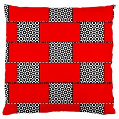 Black And White Red Patterns Large Flano Cushion Case (one Side) by Celenk