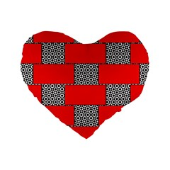 Black And White Red Patterns Standard 16  Premium Flano Heart Shape Cushions