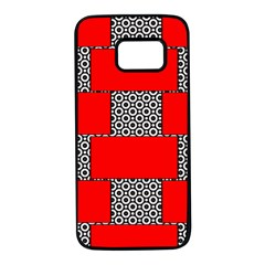 Black And White Red Patterns Samsung Galaxy S7 Black Seamless Case by Celenk