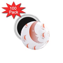 Moon Moonface Pattern Outlines 1 75  Magnets (100 Pack)  by Celenk