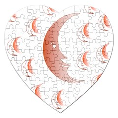 Moon Moonface Pattern Outlines Jigsaw Puzzle (heart) by Celenk