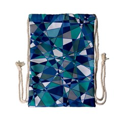 Abstract Background Blue Teal Drawstring Bag (small)