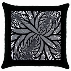 Fractal Symmetry Pattern Network Throw Pillow Case (black) by Celenk