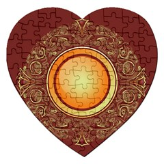 Badge Gilding Sun Red Oriental Jigsaw Puzzle (heart) by Celenk