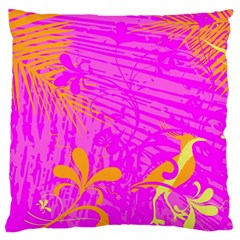 Spring Tropical Floral Palm Bird Large Flano Cushion Case (two Sides) by Celenk