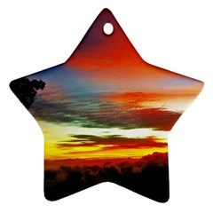 Sunset Mountain Indonesia Adventure Ornament (star) by Celenk