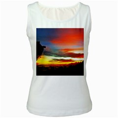 Sunset Mountain Indonesia Adventure Women s White Tank Top by Celenk
